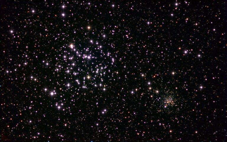 Messier 35 (NGC 2168) og NGC 2158.