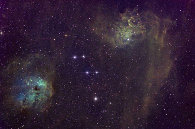 Halakörtuþokan (t.v.) og Logaþokan - Tadpole (IC 410) and Flaming star nebula (right, IC 405)