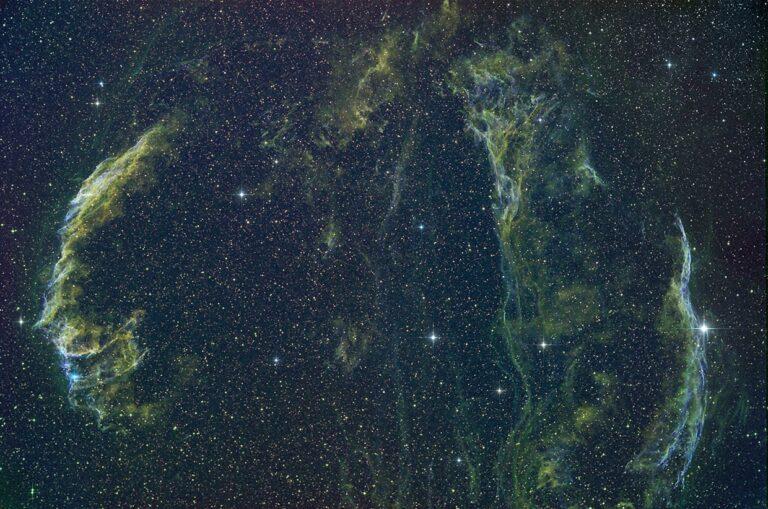 Slörþokan - Veil nebula (NGC 6992 (left), Pickerings triangle (mid) NGC 6960 (right)